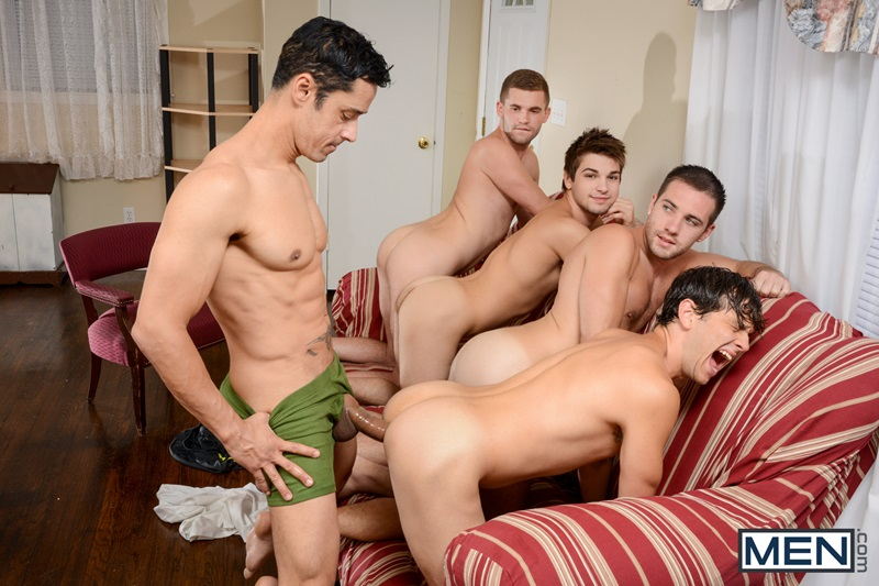 Four erotic blokes having plump sex raw bump