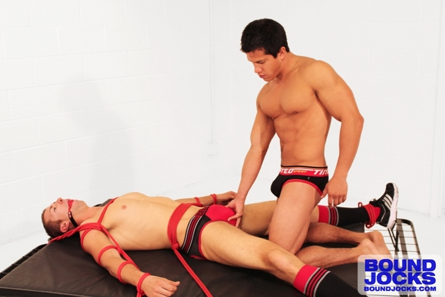 Bound Jocks – AJ Irons unties Johnny Lawless' legs, throws them over his shoulders and fucks his ass