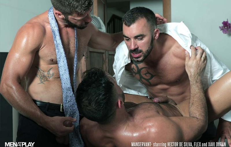 Flex Xtremmo and Hector de Silva both suck on Xavi Duran's thick hard dick