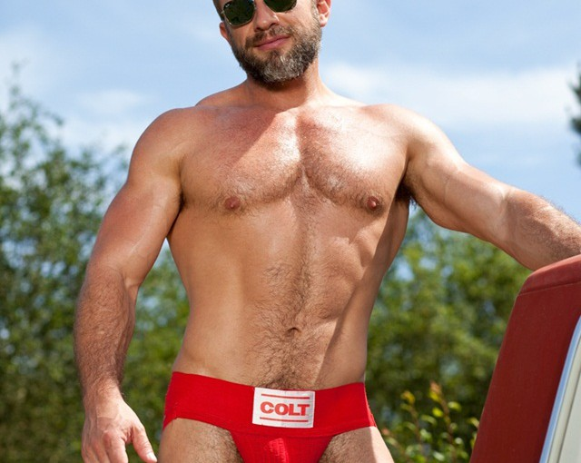 Muscle bear Dirk Caber has his furry buddy Trent Locke