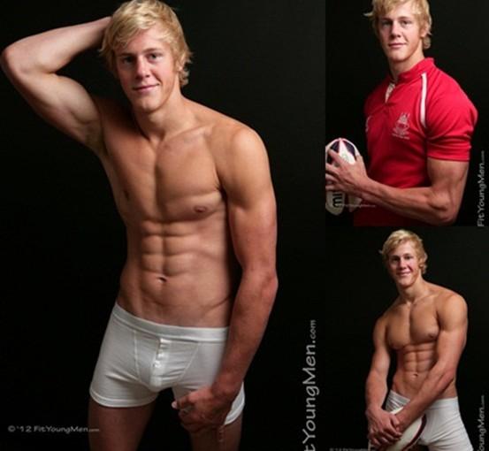 Naked sportsmen boxer Leo Benson, rugby player Cameron Bruce and footballer Ashley Mayor