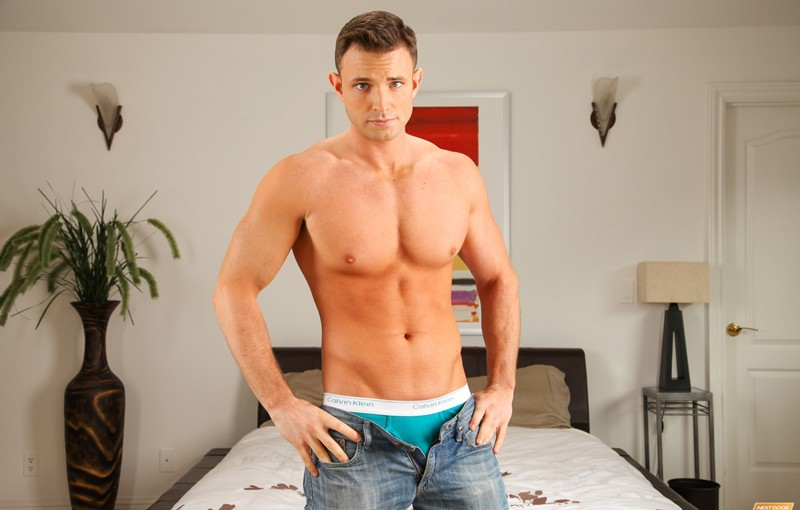 Hot young naked stud Dallas Bleu jerking his big cock
