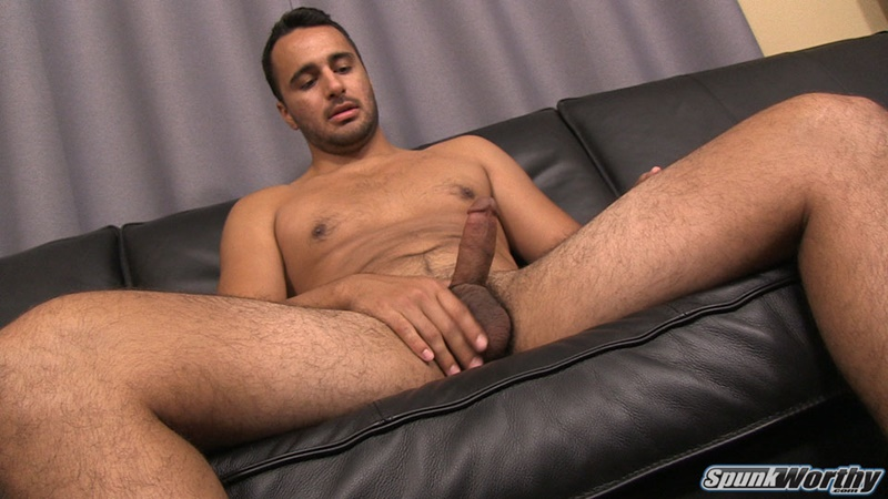 Eddie jerks his big cock and fingers his tight straight ass hole