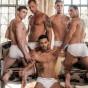 Bareback ass fucking orgy Ruslan Angelo fucked by Andy Star, Bogdan Gromov, Javi Velaro and Logan Rogue