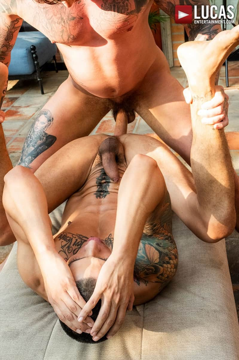 Men for Men Blog Max-Avila-Geordie-Jackson-tattoo-naked-muscle-dudes-huge-bareback-dick-LucasEntertainment-013-gay-porn-pictures-gallery Max Avila takes the full length Geordie Jackson's huge bareback dick Lucas Entertainment